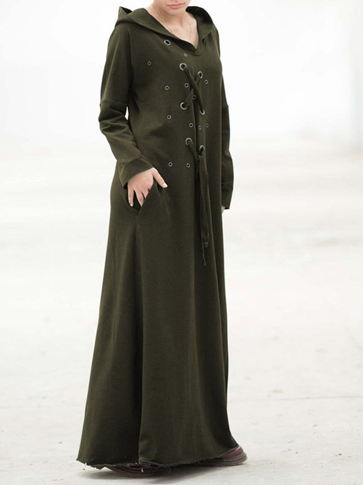 Hollow Bandage Long Sleeve Hooded Casual Maxi Dress For Women