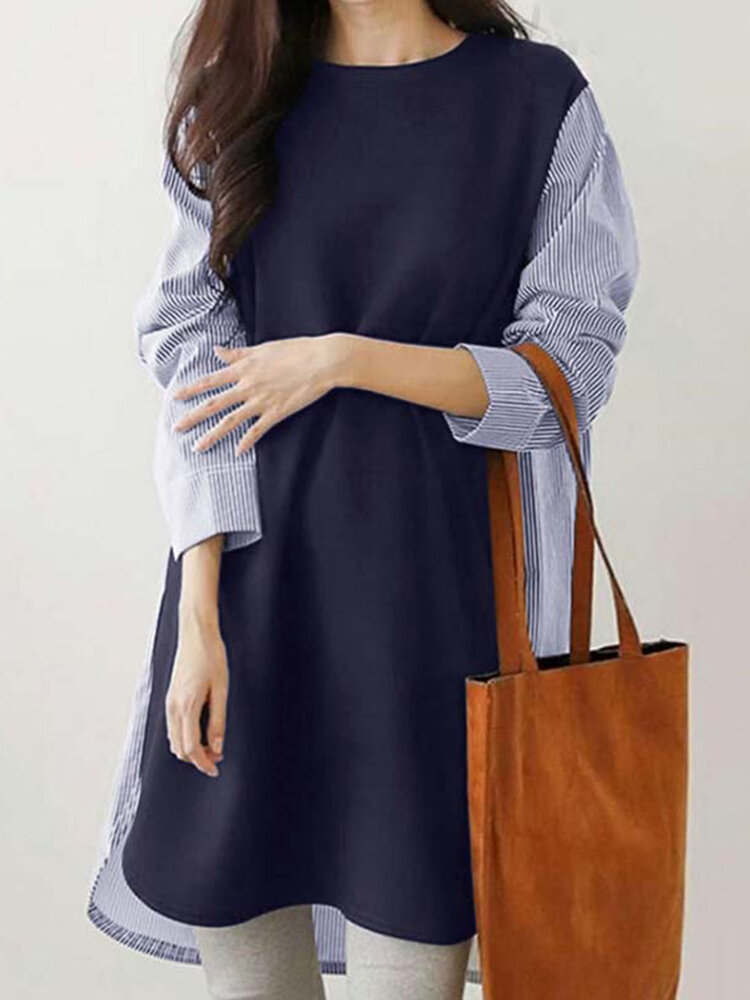 Stripe Stitch Long Sleeve O-neck Casual Blouse for Women