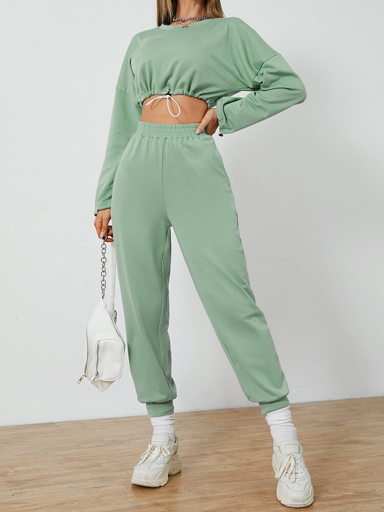 Solid Color Drawstring Long Sleeve T-shirt Pants Casual Set for Women
