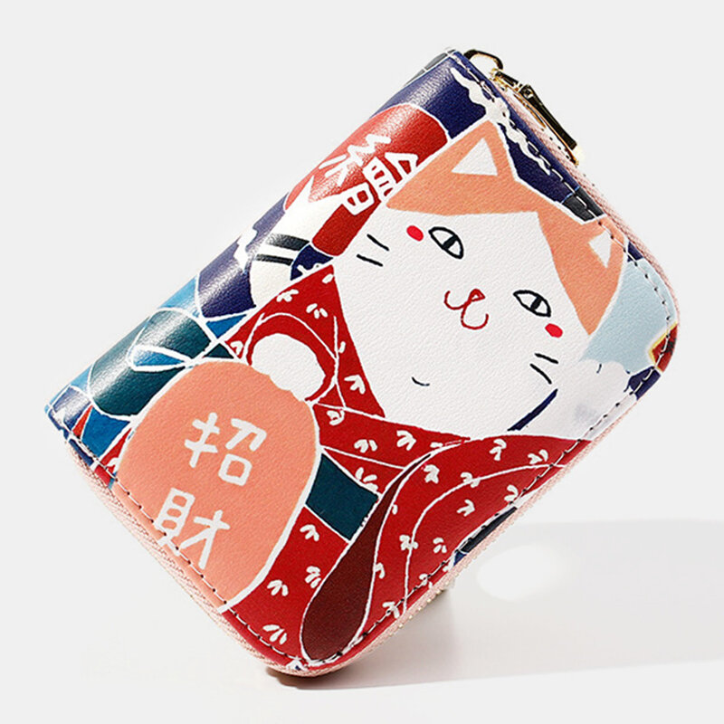 Women Multi-card Slots Money Clips Lucky Cat Wallet