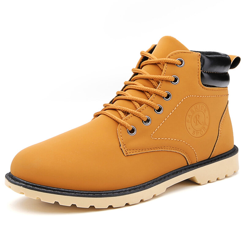 Men Microfiber Leather High Top Work Style Ankle Boots