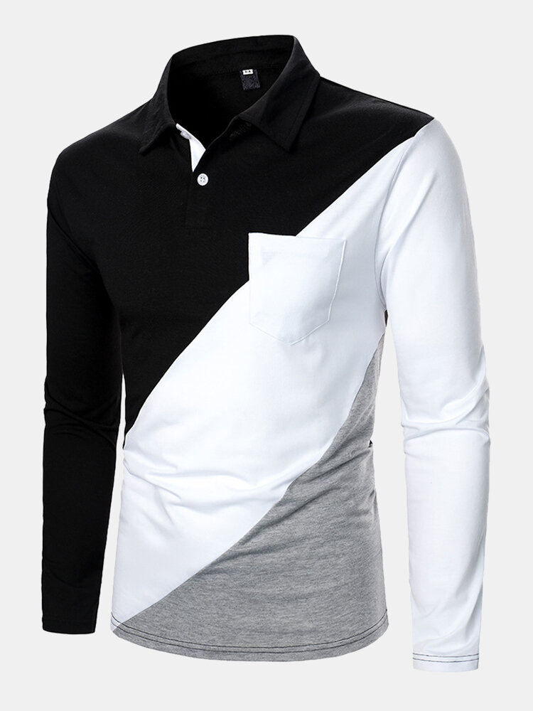 Mens Colorblock Patchwork Chest Pocket Casual Long Sleeve Golf Shirts