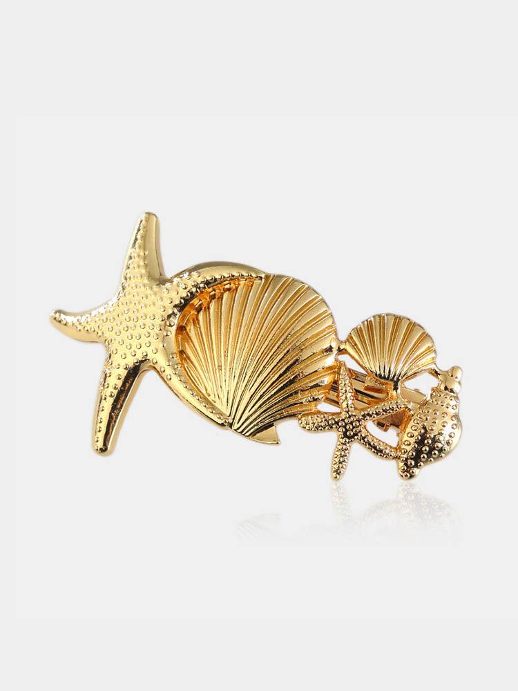Accessoires en épingle à cheveux mignon Starfish Conch décoratif argent or épingles à cheveux bijoux de mode pour les femmes