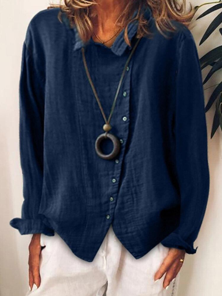 Button Revers Vollfarbiges Langarm-Freizeithemd für Damen
