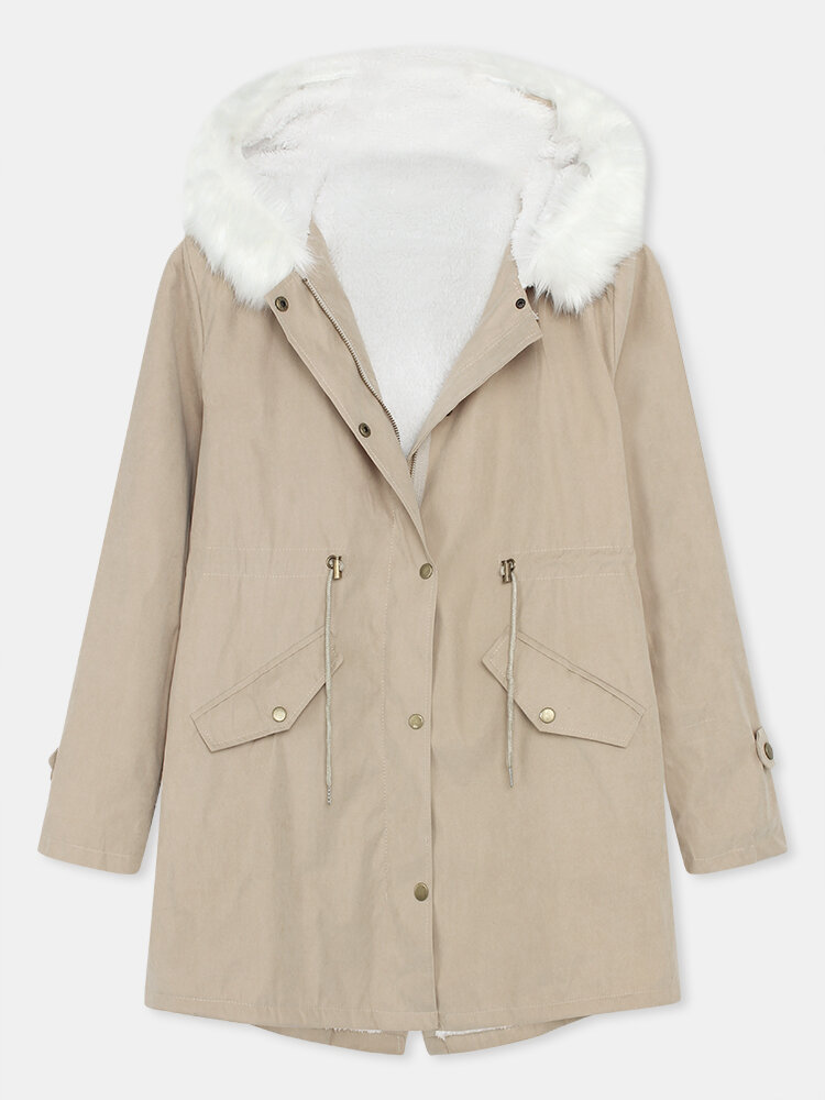 Solid Color Button Long Sleeve Plush Coat With Pocket