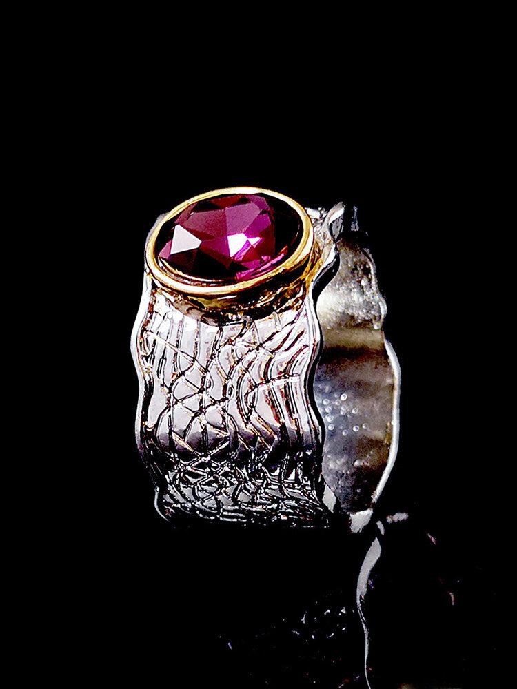 Vintage Two-Tone Amethyst Ring Corrugated Inlaid Diamond Women Ring