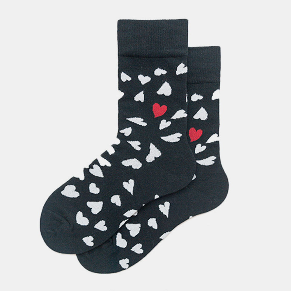 Men And Women The Same Paragraph Cotton Socks Heart-Shaped Trend Middle Tube Socks Couple