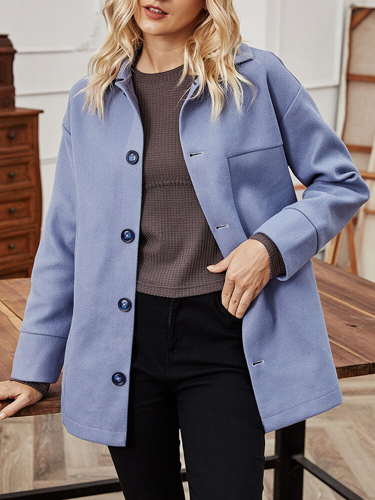 Solid Color Button Long Sleeve Casual Coat for Women