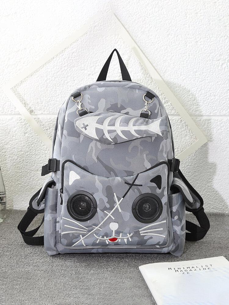 Women Sports Bag Fish Bone Pattern Bluetooth Speaker Nylon Embroidered Bag Novelty Bags Backpack