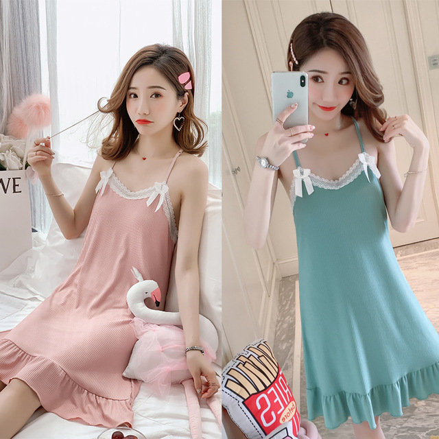 Sexy Lace Strap Nightdress Home Service With Chest Pad Removable