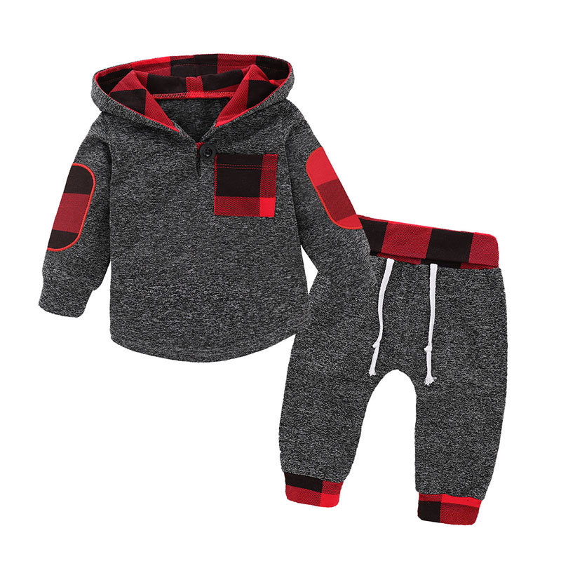 2Pcs Printed Boys Casual Hooded Shirt +Pants Set For 6-48M