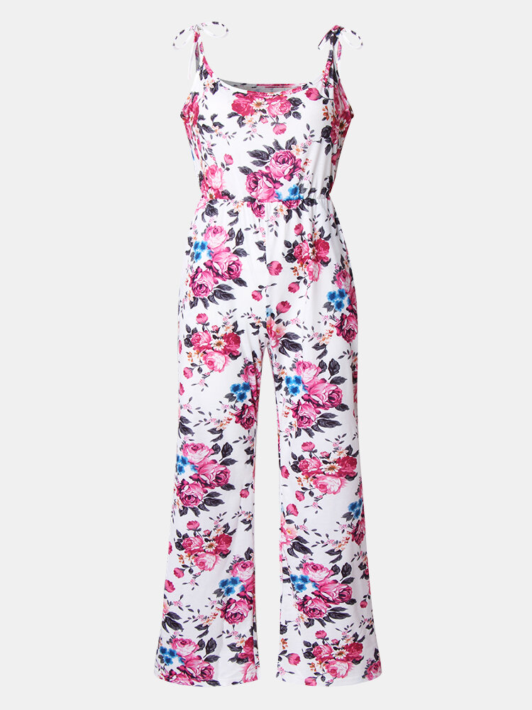 Mommy And Me Matching Outfit Floral Print Sleeveless Casual Jumpsuit
