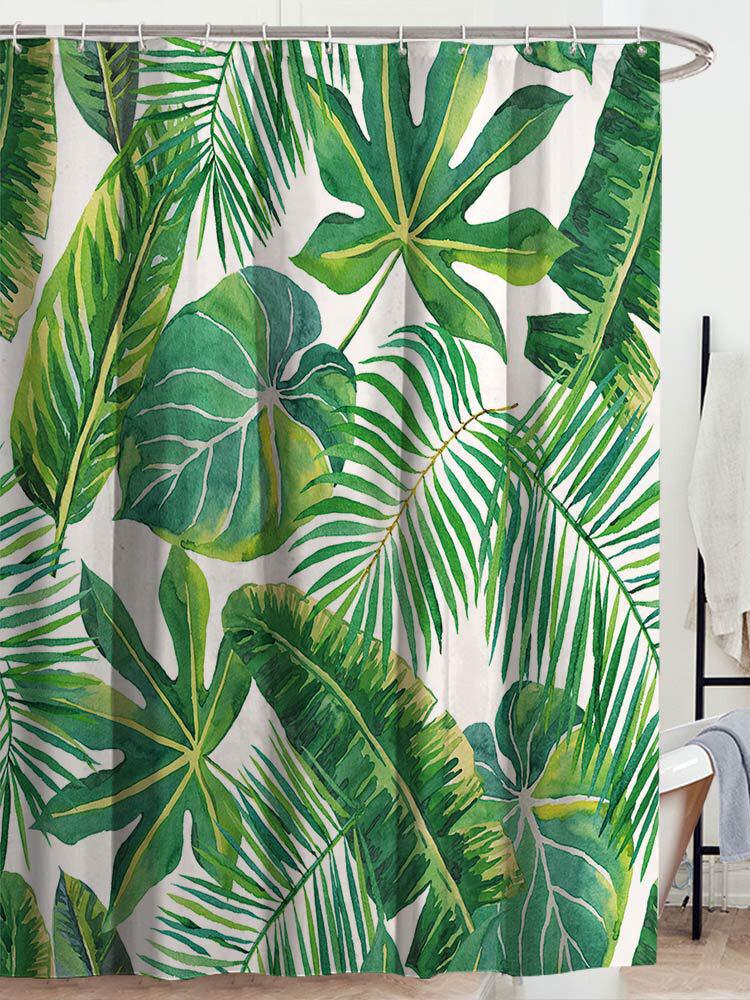 Coutina de chuveiro de plantas tropicais verdes Banheiro Coutina de chuveiro de poliéster à prova d'água deixa coutinas de impressão para chuveiro Banheiro