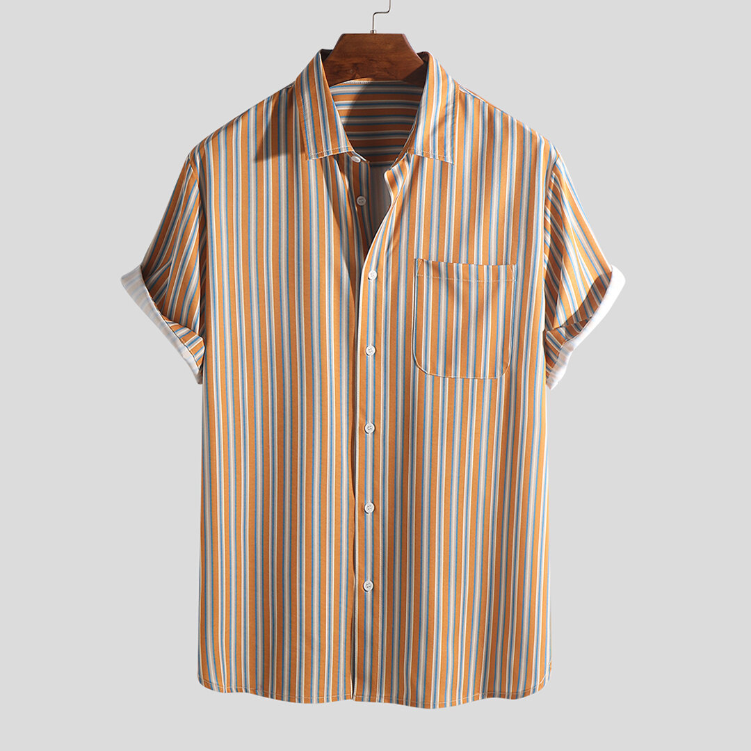 fbc7edfec2 ChArmkpR Mens Holiday Casual Colorful Stripe Printed Chest Pocket Beach Loose  Short Sleeve Shirts Best Online - NewChic