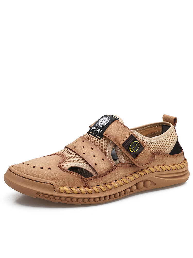 Men Hand Sitching Outdoor Breathable Mesh Leather Sandals