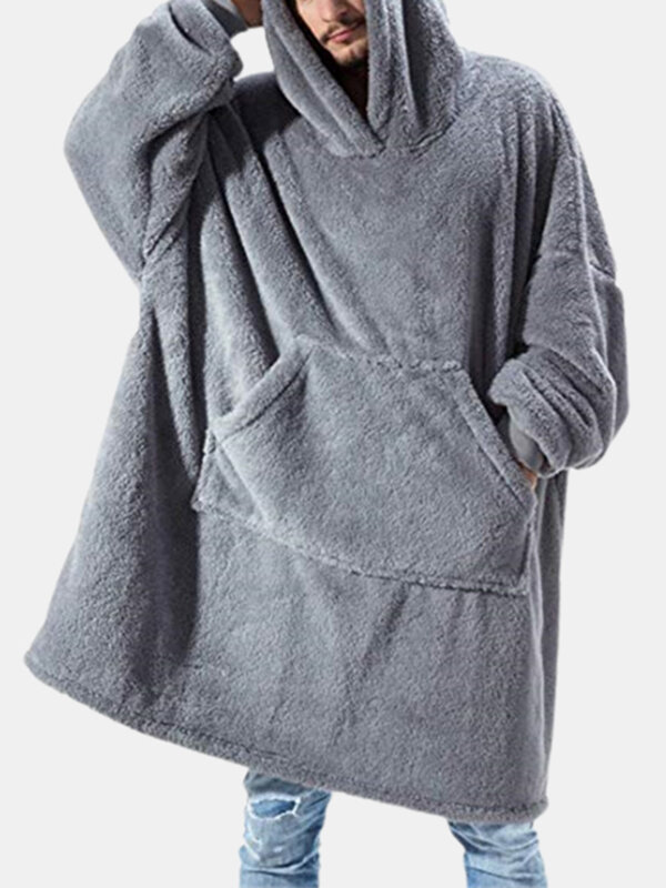 Flannel Thicken Warm Blanket Hooded Cozy Soft Oversized Robes Homewear Top With Kangaroo Pocket