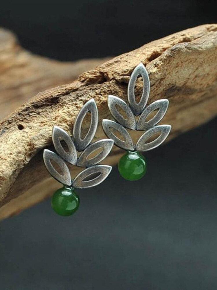 Vintage 925 Plated Silver Hollow Leaf Earrings natural Round Jasper Ear Stud
