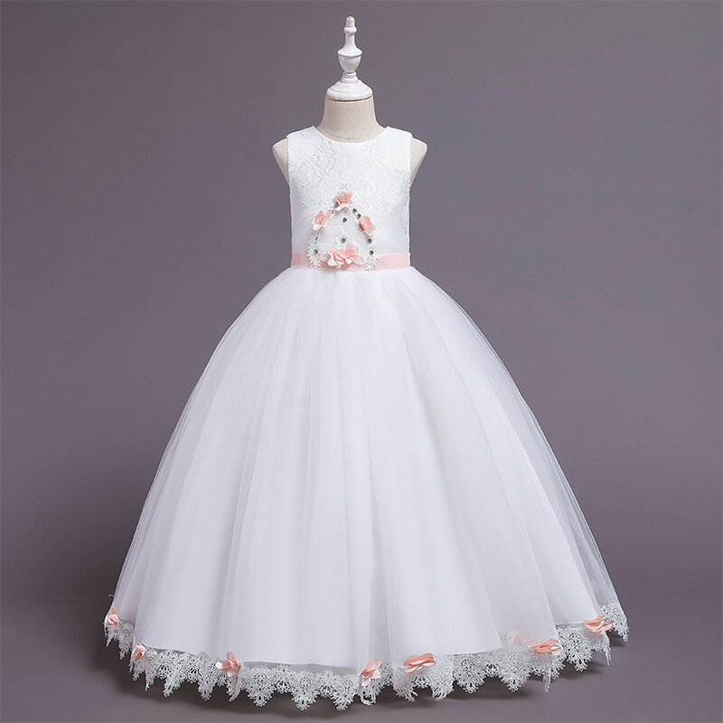 Flower Toddlers Girls Sleeveless Pageant Princess Party Wedding Tulle Long Dress For 6-12Y