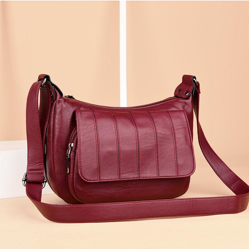 Women Soft Leather Leisure Crossbody Bag Solid Portable Messenger Bag