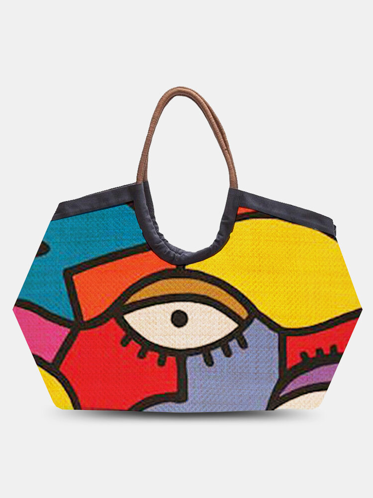 Women Colorful Straw Abstract Figure Pattern Printed Beach Handbag Tote