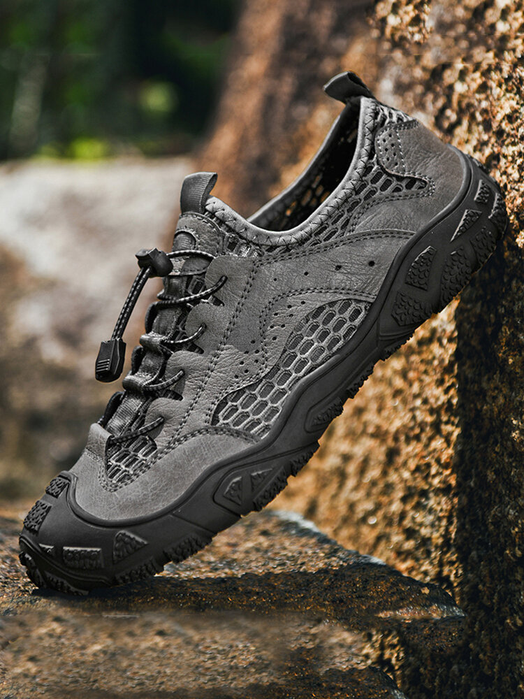 Men Mesh Breathable Lace-up Non Slip Hard Wearing Hiking Sneakers