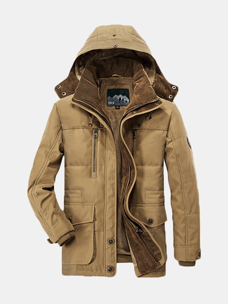 Зимние Теплые Многокарманые Сплошные Съемные Куртки для мужчин