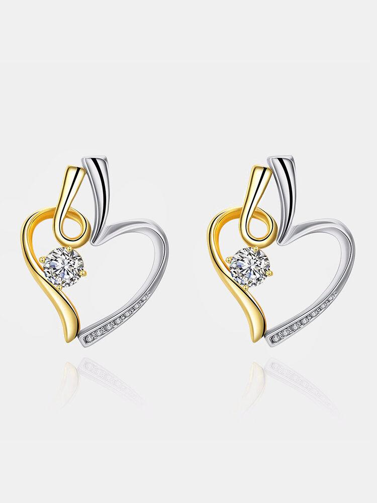 INALIS® Heart Shape Dual Color Rhinestone Earrings