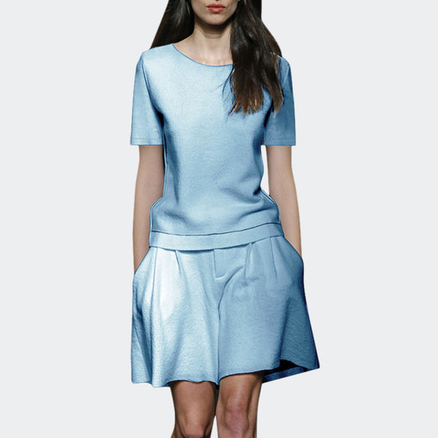 Royal Sister Set Western-style Solid Color Simple Short-sleeved T-shirt Suit Casual Shorts Two-piece