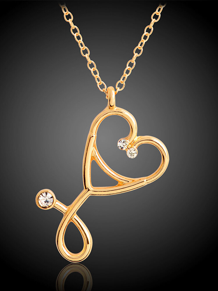 Fashion Creative Stethoscope Pendant Necklace Zinc Alloy Chain Rhinestone Mount Women Jewelry