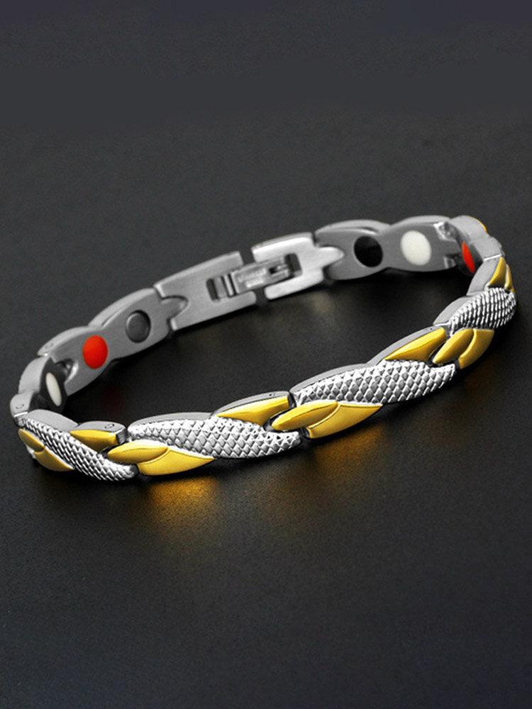 男性のためのファッションチェーンシルバーゴールドブレスレット磁気療法ステンレス鋼単一行ブレスレット