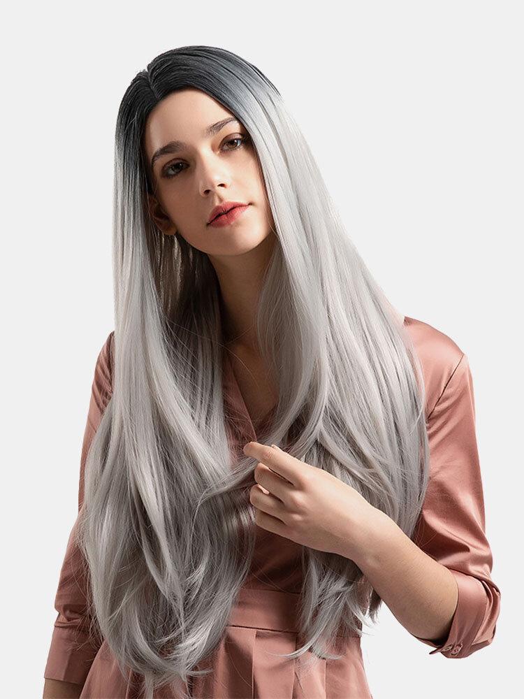 26 Zoll Synthetische Perücken Black Farbverlauf Grau Elegante Lange Glattes Haar Perücken Für Damen