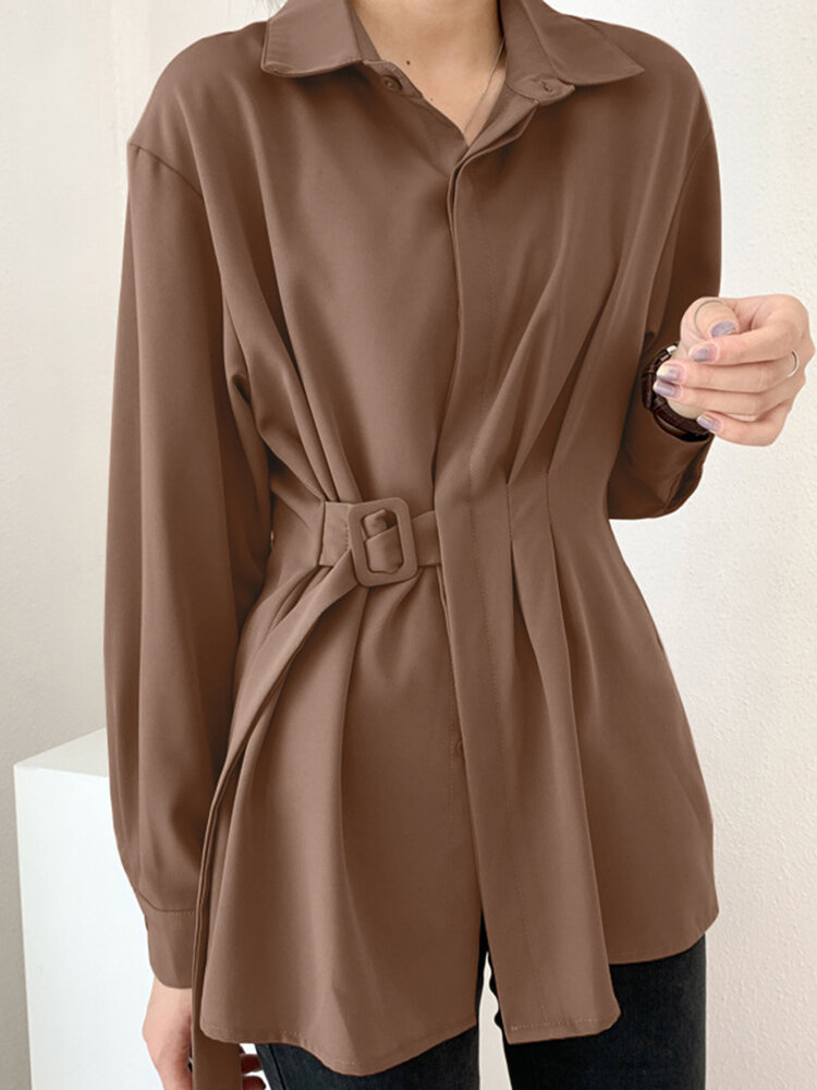 Women Solid Color Long Sleeve Loose Casual Blouse With Belt