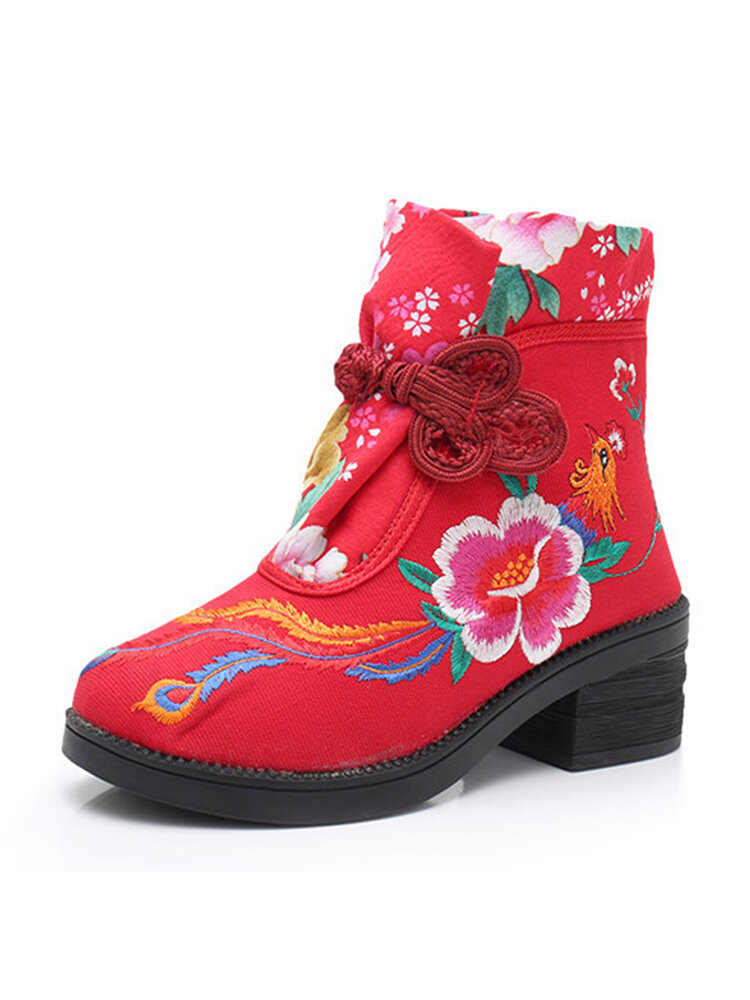 Women Folkways Embroidery Flower Chinese Knot Buckle Canvas Chunky Heel Short Boots