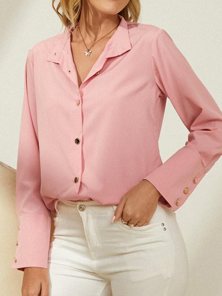 Blusa de botones de manga larga con solapa sólida para Mujer