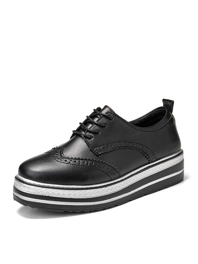 Women's Pure Black And White Side Comfortable Flat Oxfords Shoes
