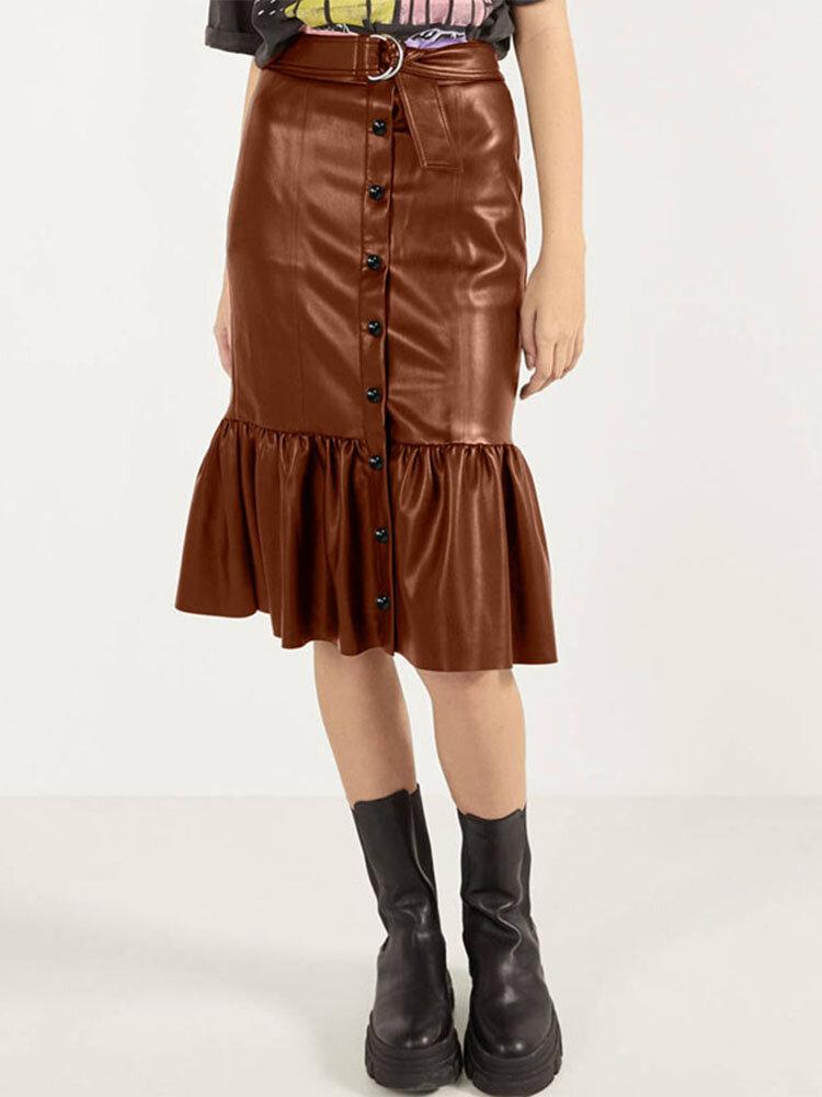Pleated Patchwork Waist Belt Leather Hip Plus Size Skirt