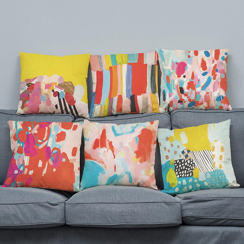Colorful Scrawl Pattern Cotton Linen Square Cushion Cover Throw Pillow Case Sofa Home Decor