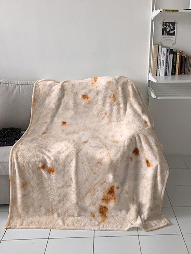 Mexican Burritos Square Wrap Blanket Soft 3D Corn Tortilla Flannel Blanket Outdoor Picnic Mat