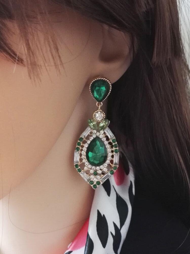 Vintage Geometric Water Drop Gem Earrings Luxury Rhinestone Gem Pendants Stud Earrings