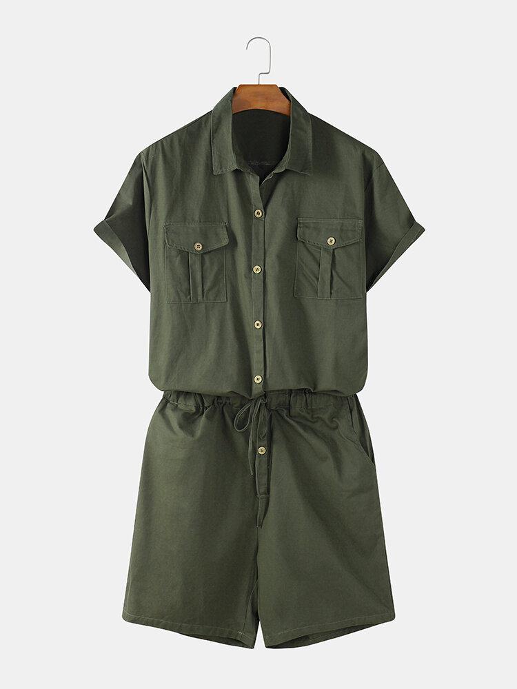 メンズコットンソリッドカラーダブルポケット巾着腰半袖ジャンプスーツ