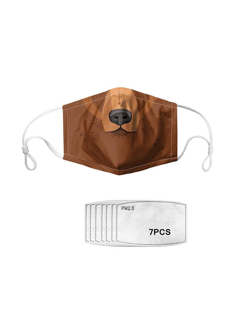 7つのマスクのガスケットが付いているライオンパターンポリエステル方法防塵マスク