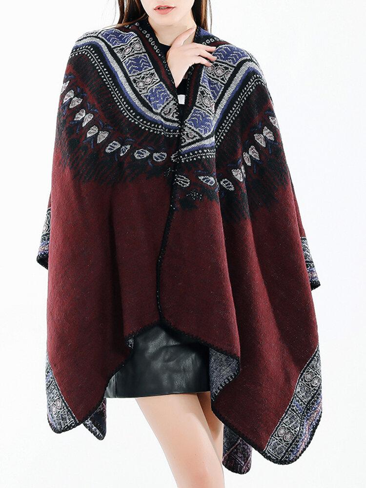 Sciarpa scialle in misto lana stile etnico vintage da donna Casual Soft Sciarpa calda e traspirante