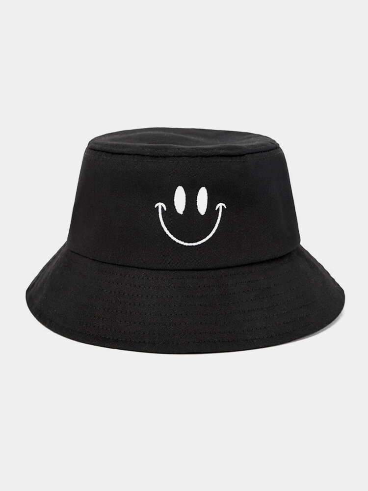 Femmes et hommes sourire motif de broderie chapeau de seau de parasol décontracté en plein air all-match