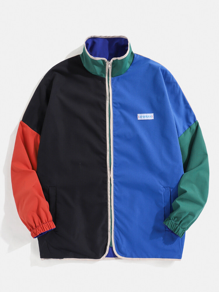Mens Color Block Patchwork Stand Collar Reversible Relaxed Fit Jackets On Both Sides
