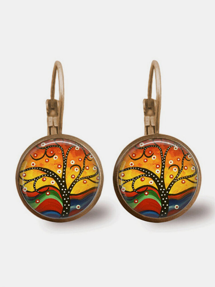 Vintage Colorful Life Tree Oil Painting Print Drop-shape Alloy Glass Sheet Earrings