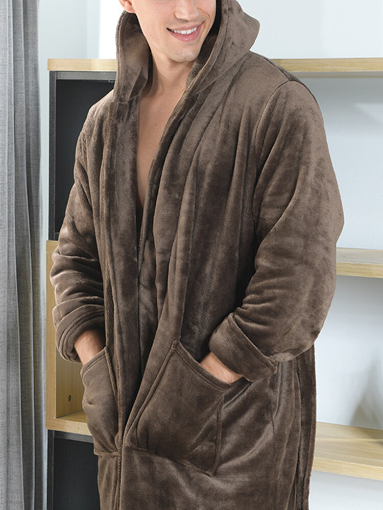 Mens Solid Color Double Pocket Flannel Warm Hooded Robe With Belt
