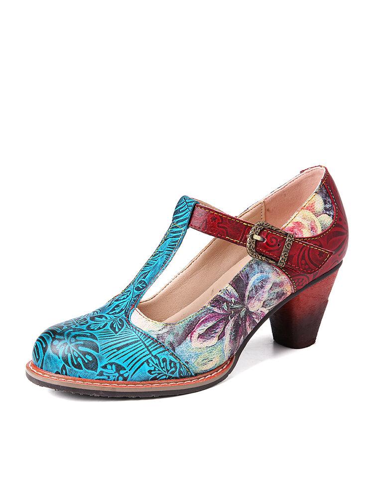 SOCOFY Retro Натуральная Кожа Туфли-лодочки на массивном каблуке с Т-образным ремешком и тиснеными листьями
