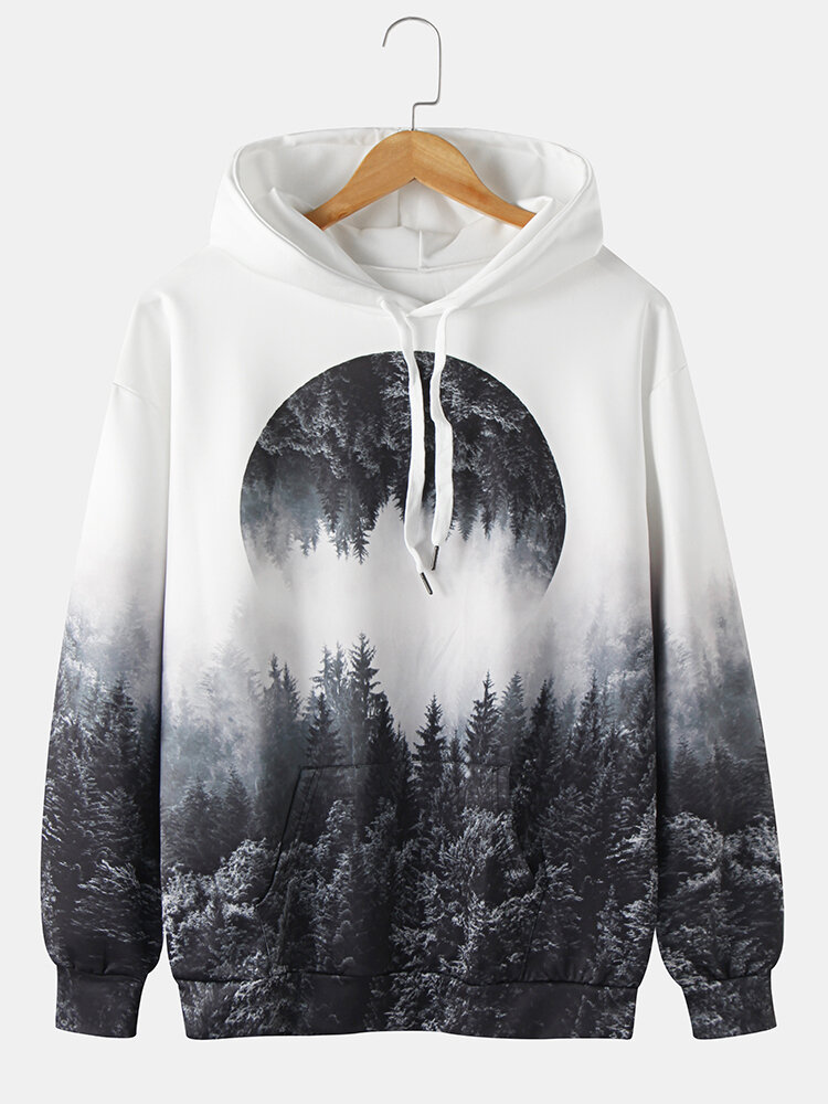 Mens Forest Landscape Graphic Print Drawstring Hoodie With Kangaroo Pocket