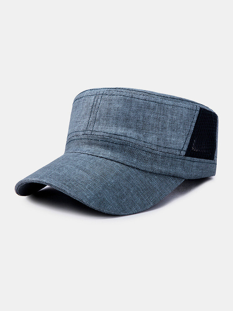Men Linen Solid Color Casual Outdoor Sunshade Military Hat Flat Hat Peaked Cap