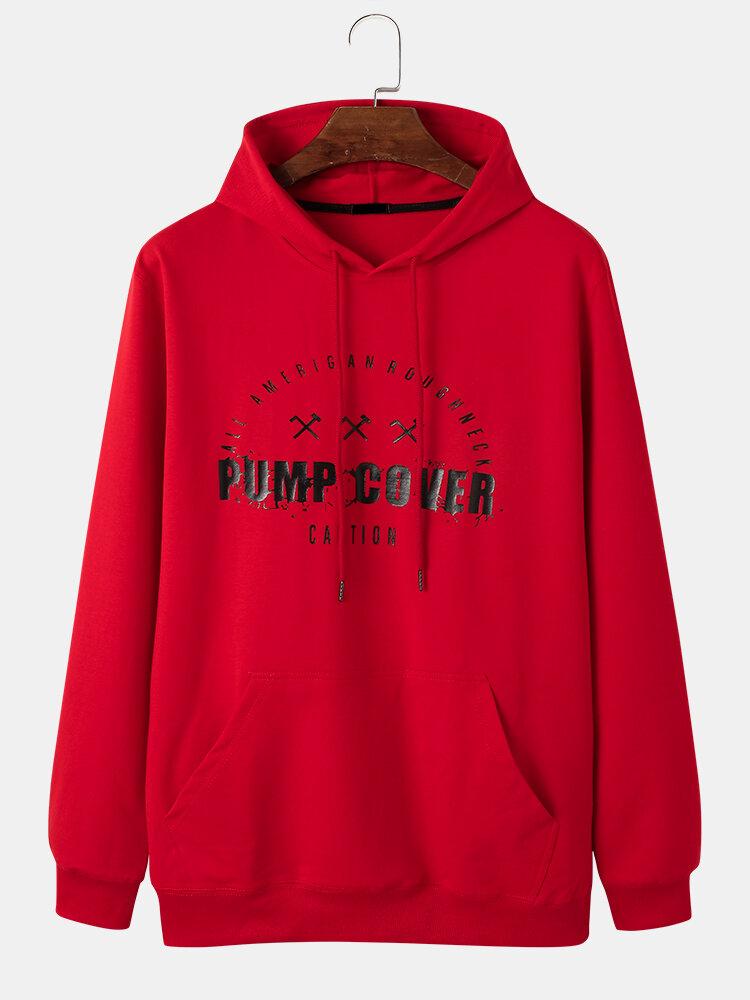 Mens Pump Cover Print Casual Kangaroo Pocket Cotton Pullover Hoodie